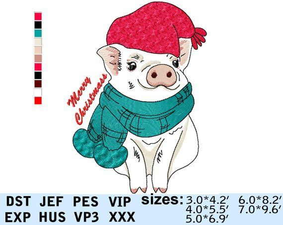 d07859a264cd8 New year santa pig 2019 christmas machine embroidery design file New Year  symbol pig Winter Piggy hat scarf Merry Christmas embroidery pattern !!