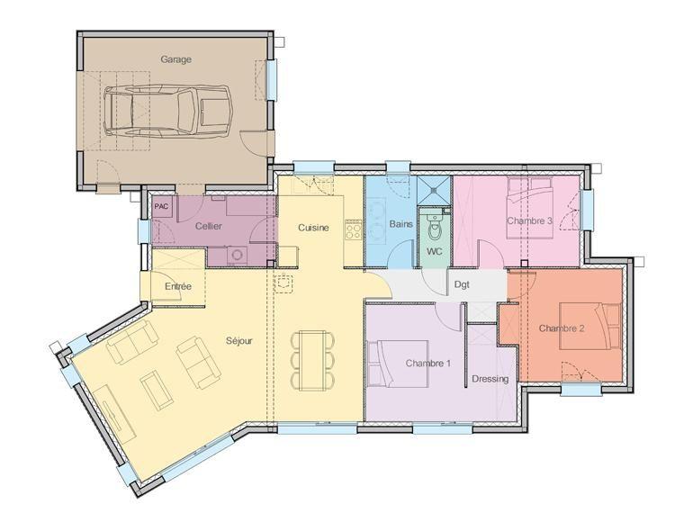 Plan rez de chaussée maison design plein pied Mylo idée maison