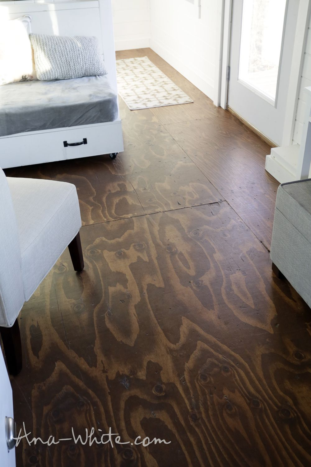 Exceptional Video:How To Stain Plywood Floor Subfloor Flooring: Tiny House Build  [Episode 13
