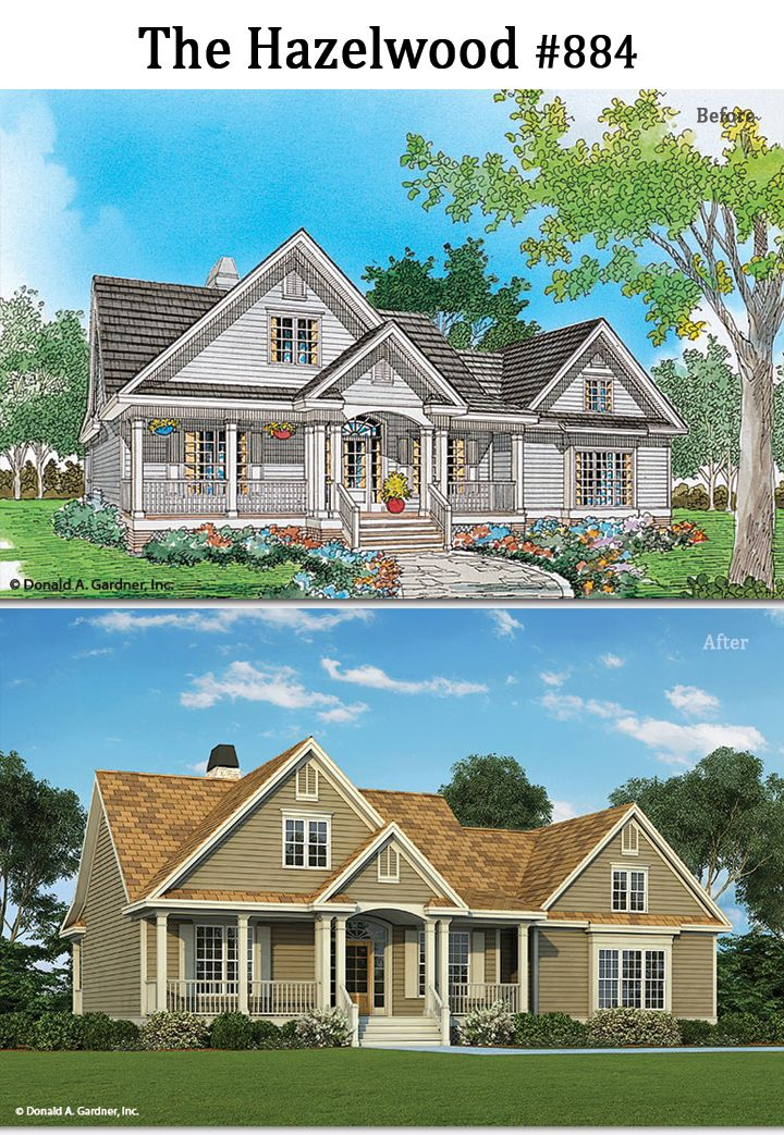The Hazelwood #884 gets an updated look! http://www.dongardner.com/house-plan/884/the-hazelwood. #BeforeAfter #HomePlan #Rendering