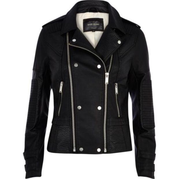 Womens black leather look biker jacket