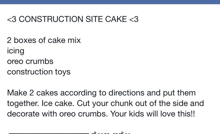 Directions for construction site cake