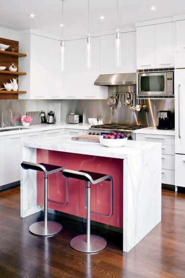 a little zap of color hidden on the peninsula gives this kitchen a rh pinterest com