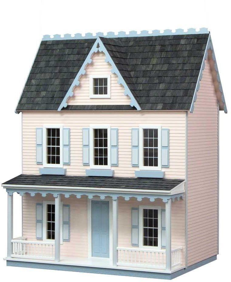 Replica Vermont Farmhouse Wooden Dollhouse Unfinished Pre Cut Wood