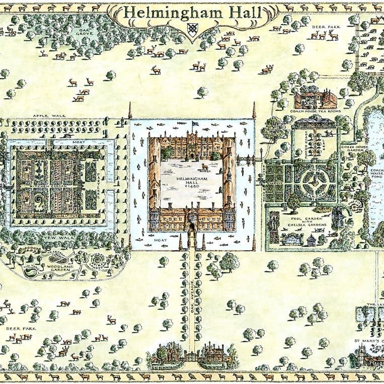 house and garden map of the beautiful helmingham hall in suffolk rh pinterest com