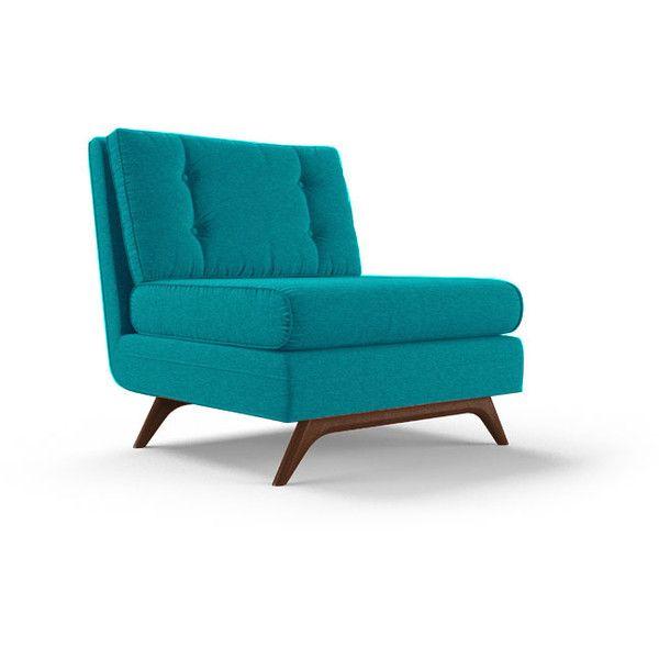 Joybird Eastwood Mid Century Modern Blue Armless Chair ($719) ❤ Liked On  Polyvore Featuring