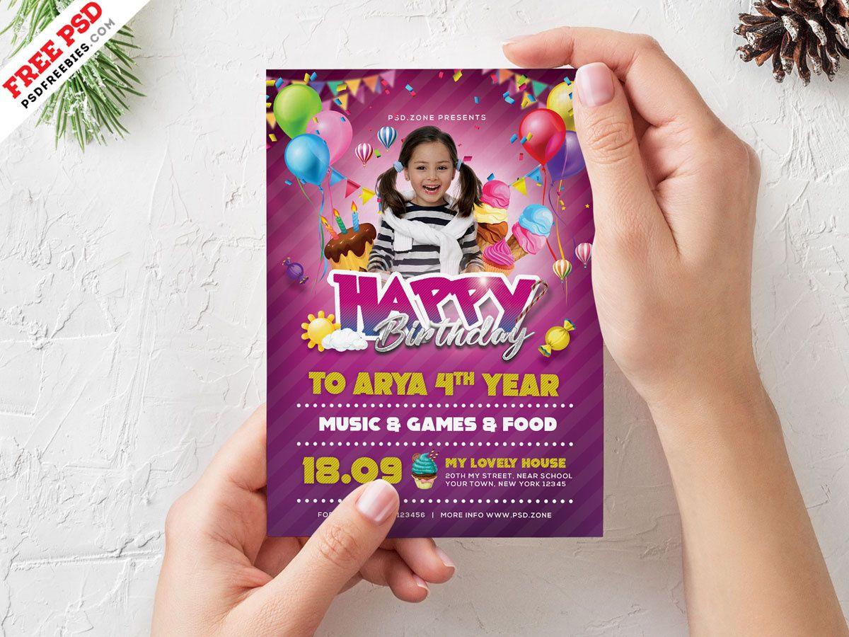Birthday Party Invitation Card Design Psdpsd Freebies On