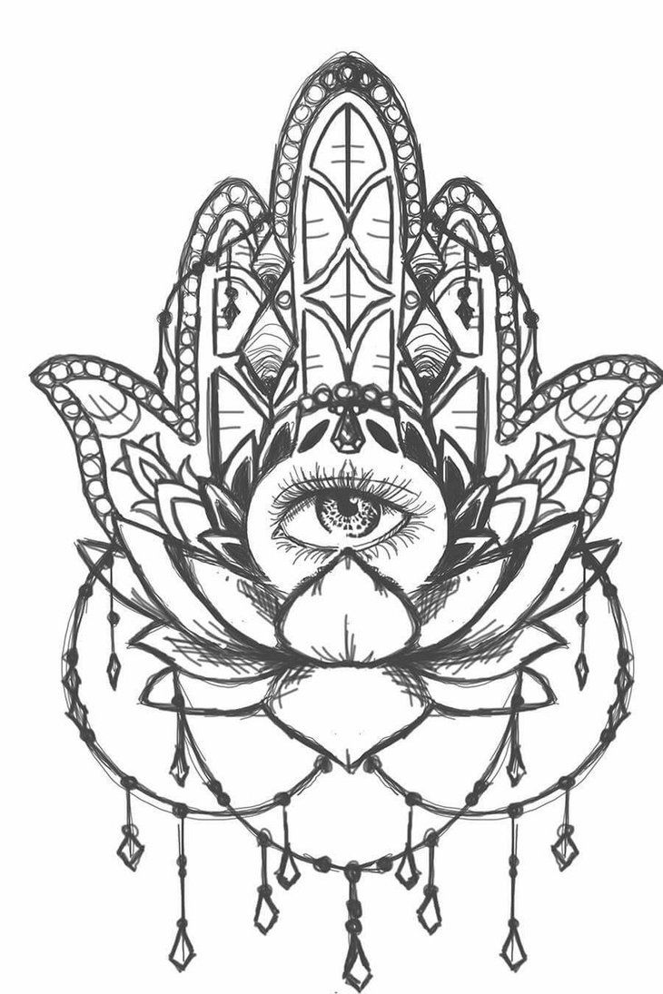 Hamsa Lotus Sketch By Sailorinky On Deviantart Illustration