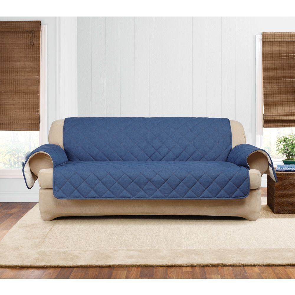sure fit quilted denim sherpa sofa furniture protector indigo rh pinterest co uk