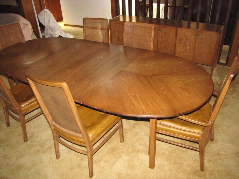 Dining Room Pads For Table Midcentury Modern Pecan Dining Room Table With 2 Leaves Table