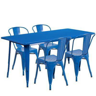 Mercury Row Corrado 5 Piece Dining Set Finish Outdoor Table Settings Flash Furniture Metal Table