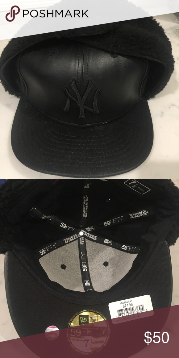 af707355f6c6a NY yankee leather hat with dog ears NWT Brand new with tags black new york  yankee hat with dog ears. Sizes 7 1 2 and 7 1 4 available. This hat is cost  74.99 ...