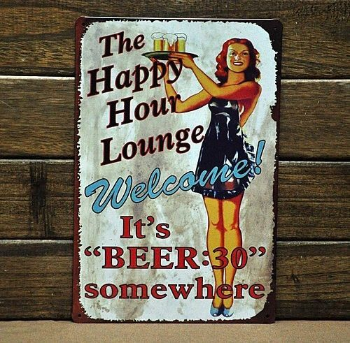 "Bar Signs And Decorations Happy Hour"" Metal Poster Beer Bar Club Sign Vintage Antique Home"
