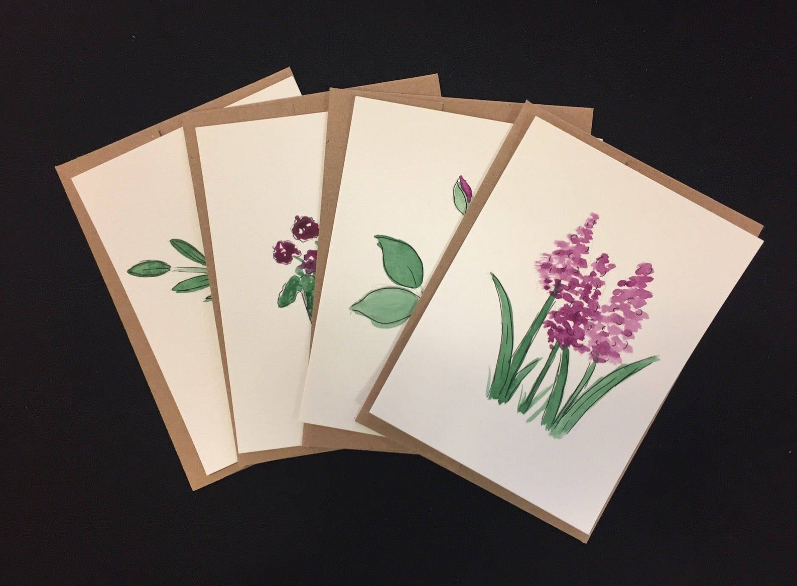 Customized watercolor cards with purple flowers Just because | Etsy | Watercolor cards, Paint ...