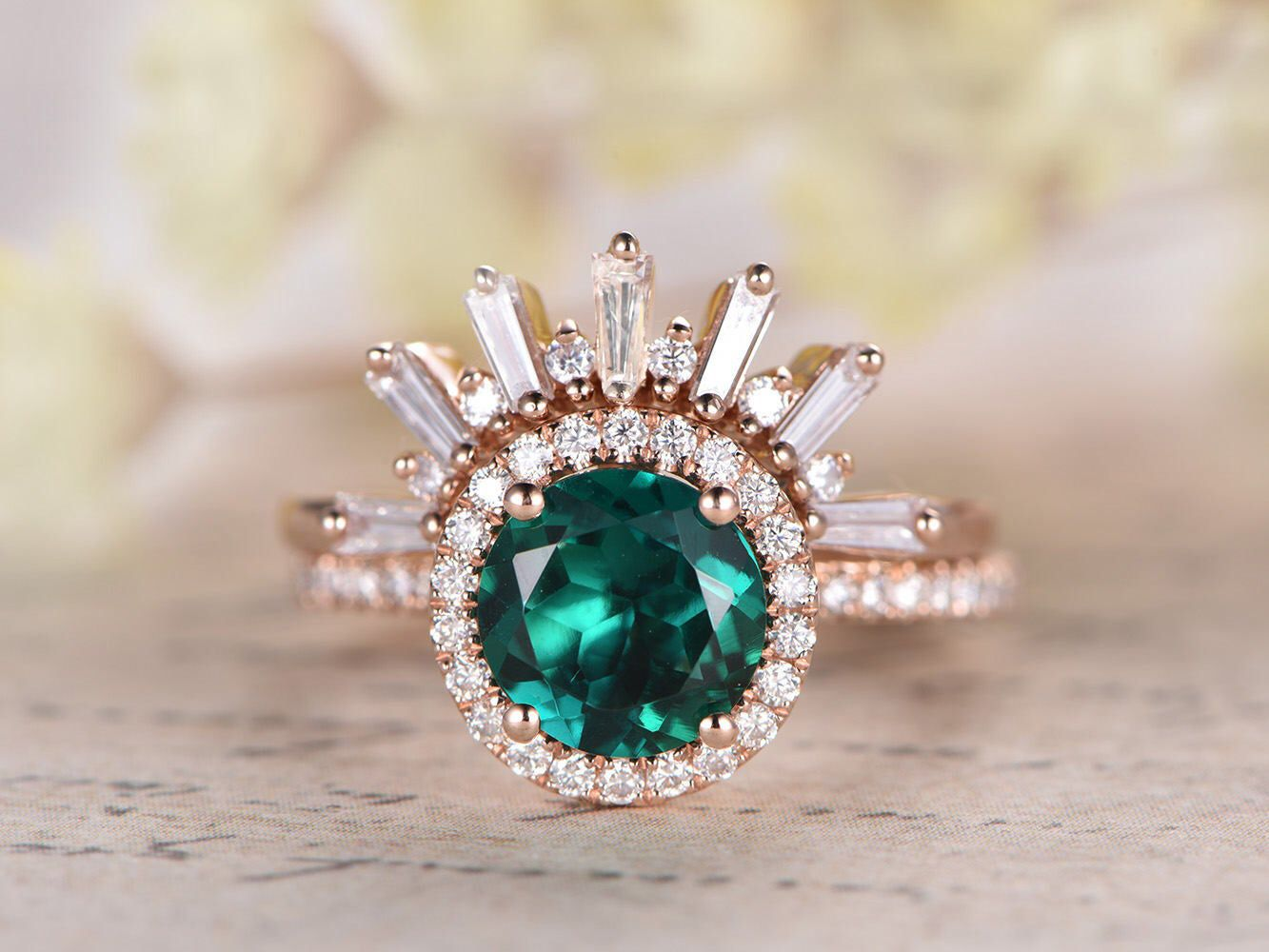 Emerald Engagement Ring Set 7mm Round Emerald Ring Crown