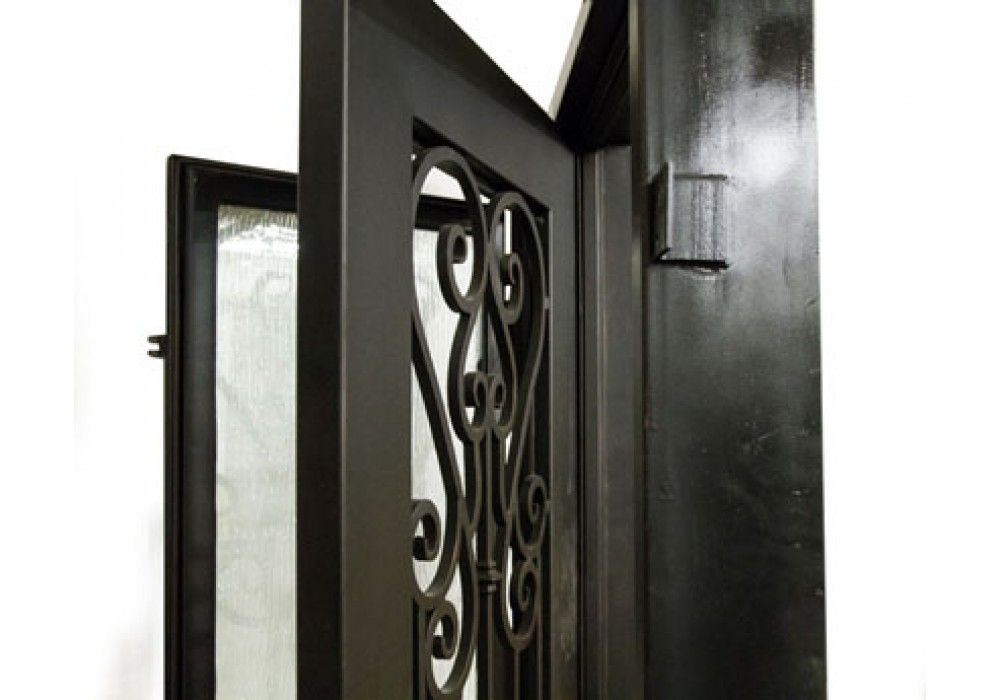 Stella Wrought Iron Door Frame And Glass With Tetris Scroll 1 3