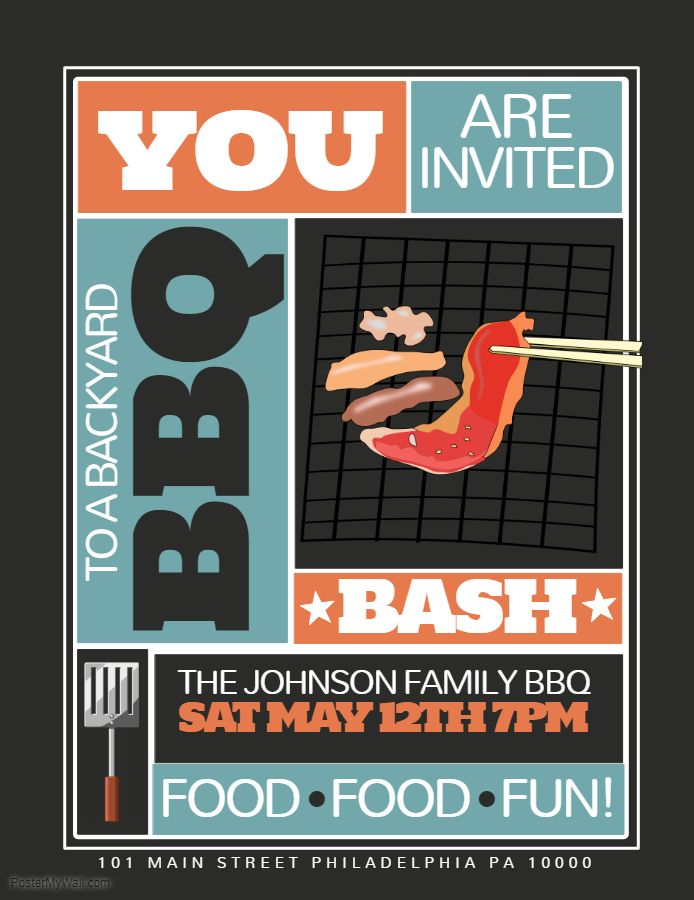 Creative Barbecue Party Event Invitation Custom Flyer Template