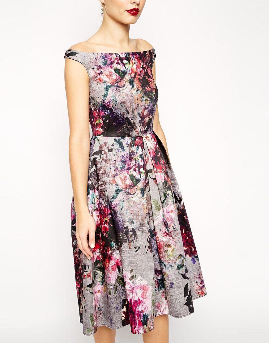 Asos tall wedding guest dresses  ASOS  ASOS Beautiful Floral Printed Midi Prom Dress at ASOS