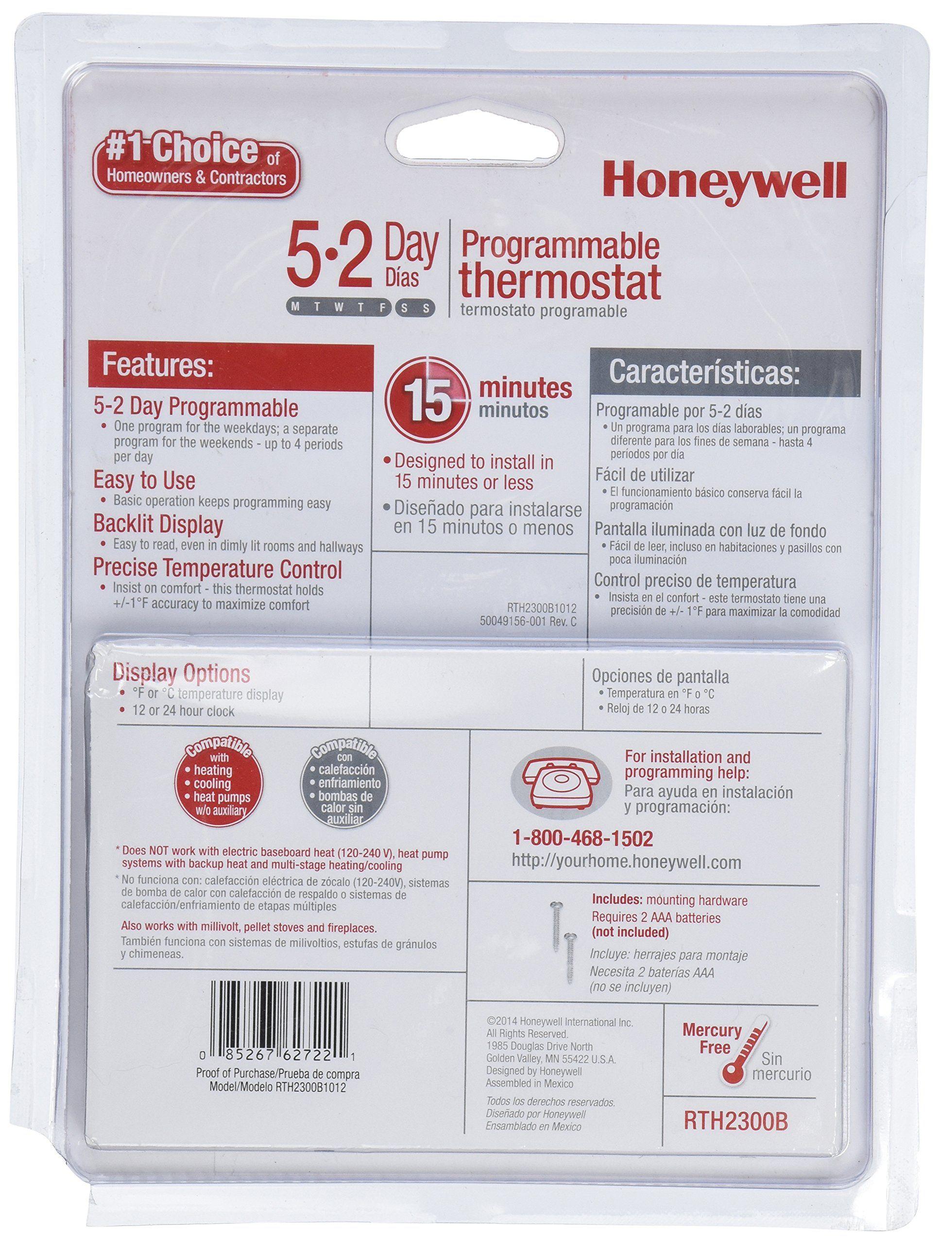 honeywell rth2300b1012 e1 52 day programmable thermostat rh in pinterest com