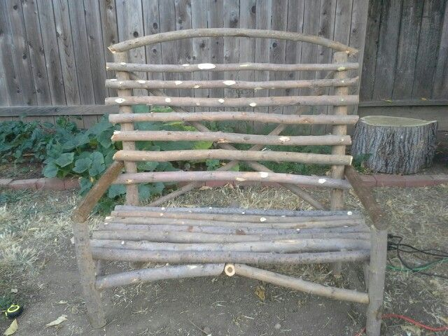 Bench Made From Tree Branches Willow