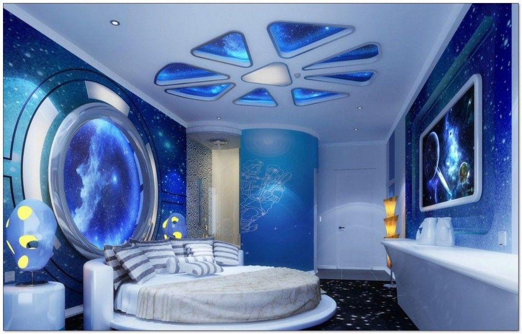 Bedroom Ideas For Boys Awesomea Outer Space Bedroom Wallpaper Mural Woods Bedding Desk Planets Unique L Space Themed Bedroom Space Themed Room Bedroom Themes