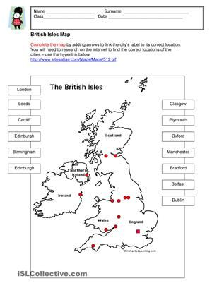 Label the British Isles Map - ESL worksheets | School | Pinterest