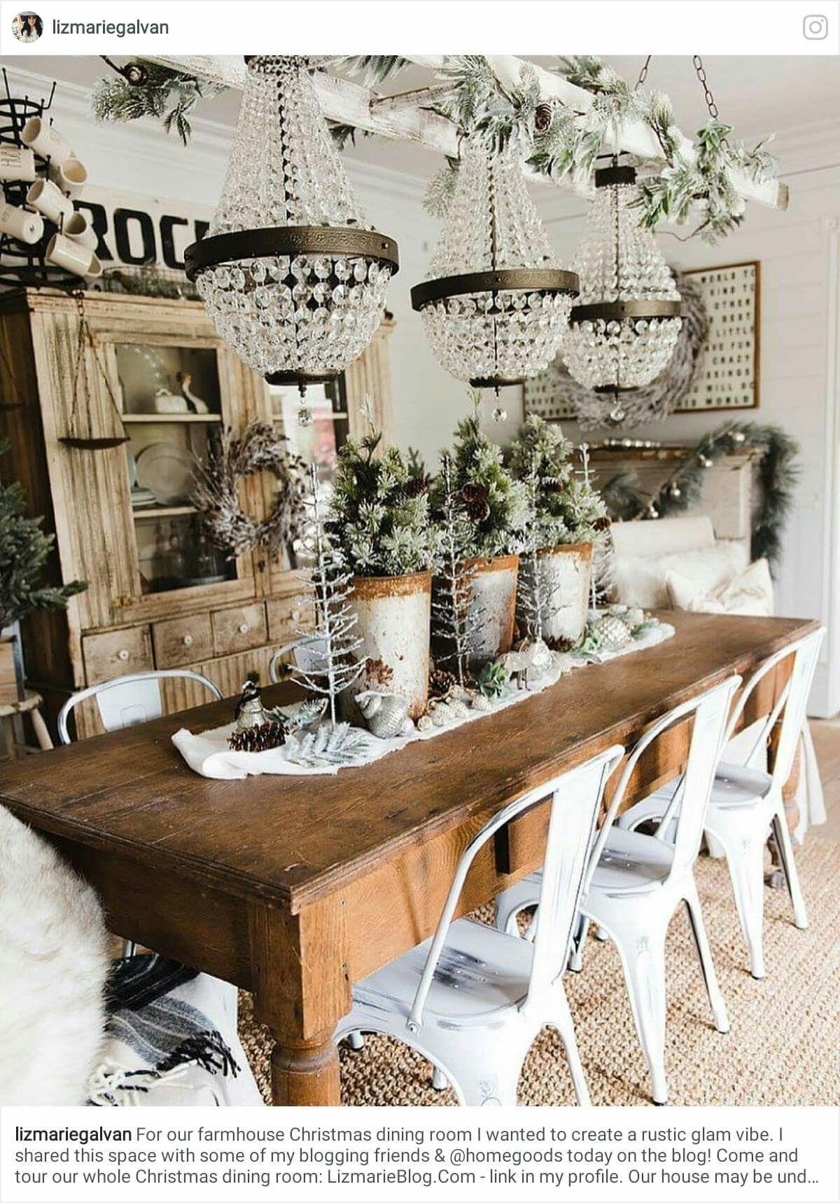 Rustic Glam Christmas Farmhouse Dining Room