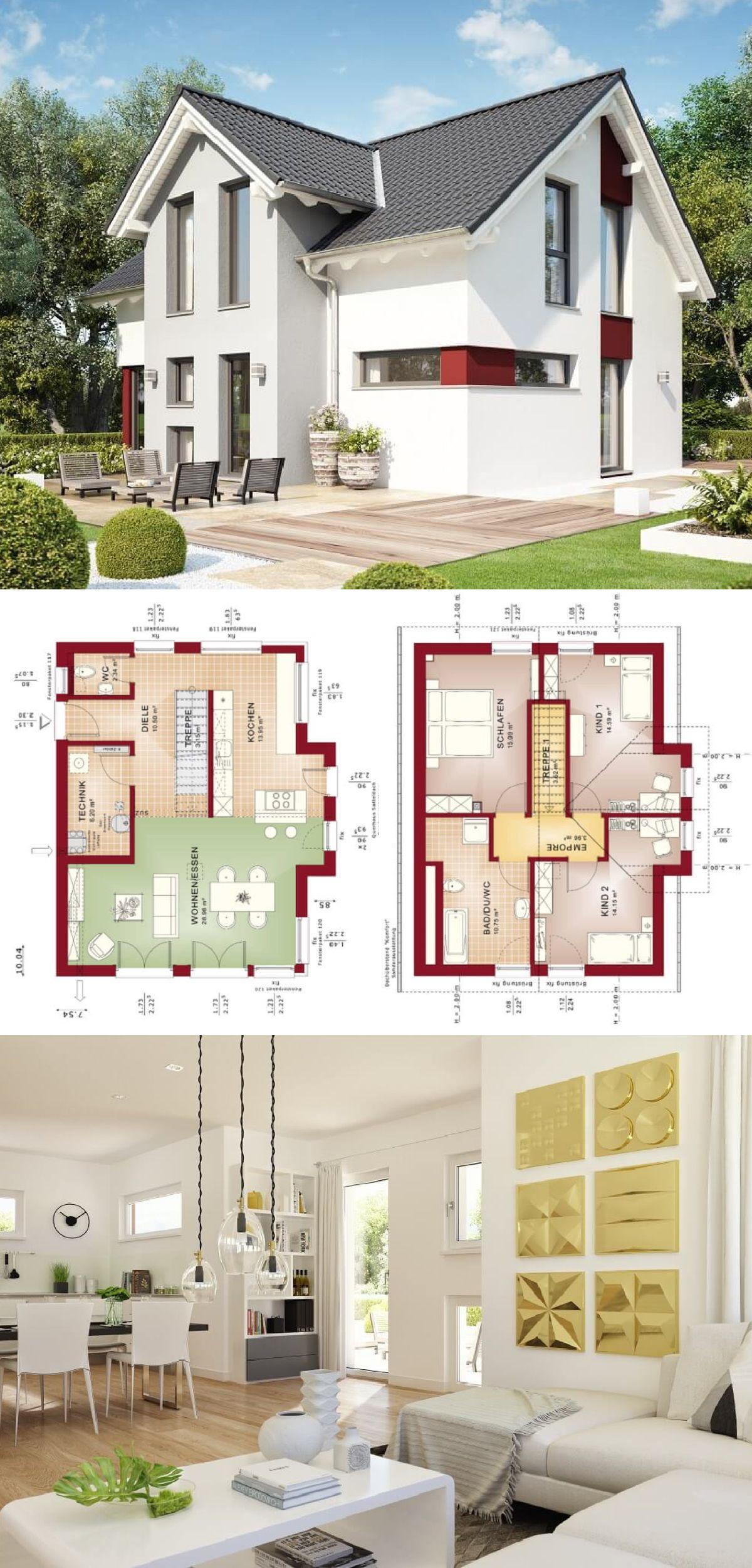 Einfamilienhaus Mit Satteldach   Grundriss Modern Offen Mit Einläufiger  Treppe   Haus Edition 4 V5 Bien
