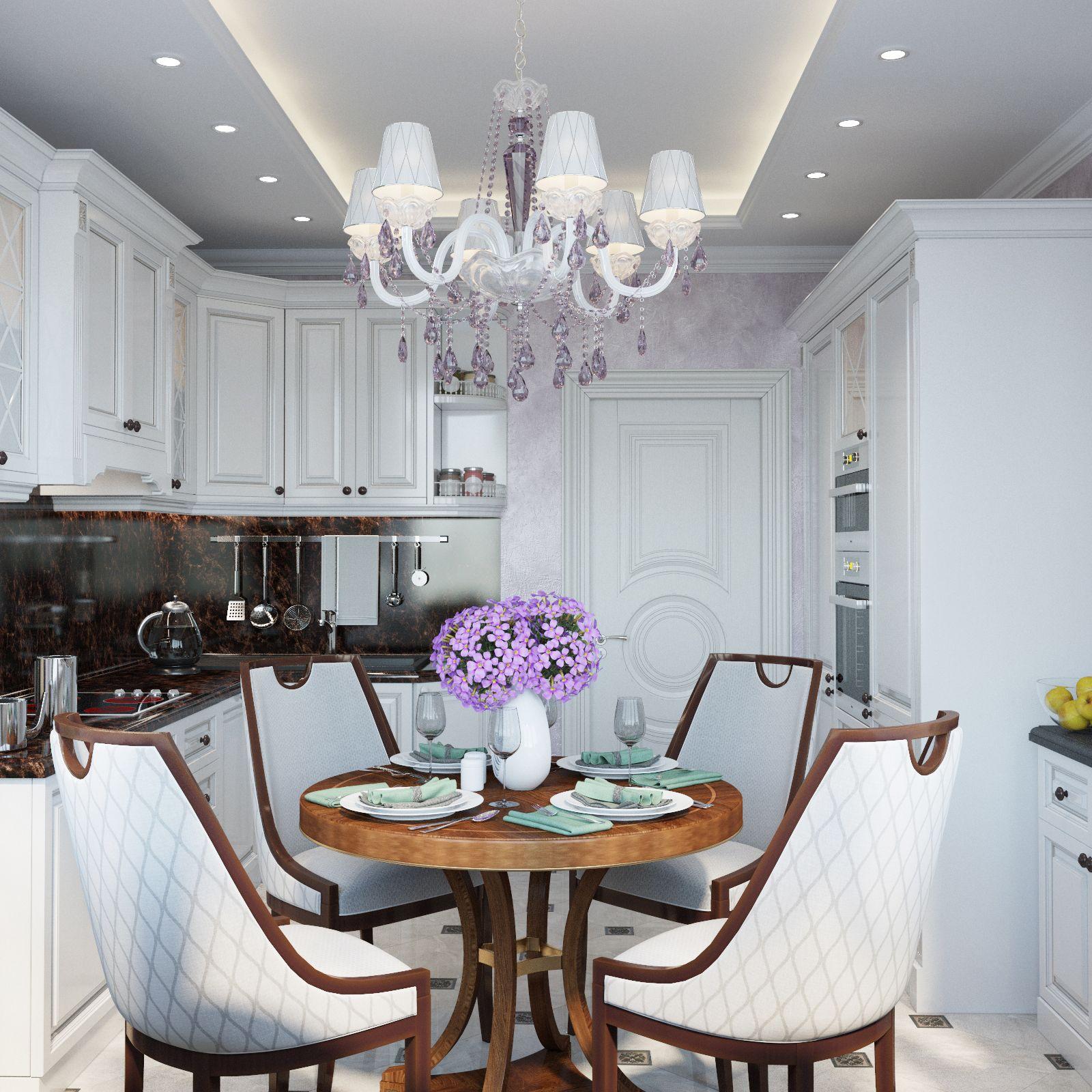 Luxury white kitchen with dark wood detailes