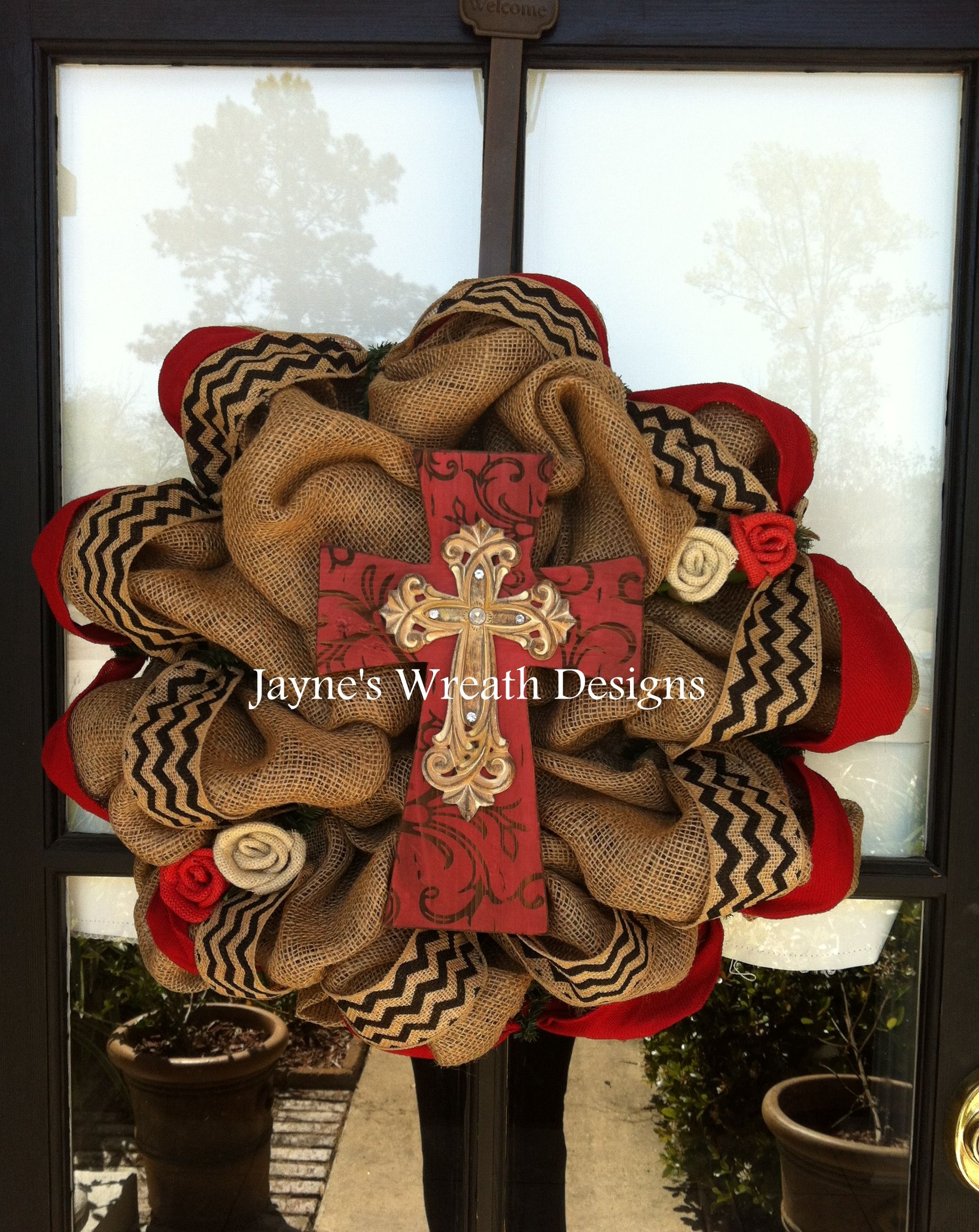 Burlap Wreaths with cross burlap flowers and