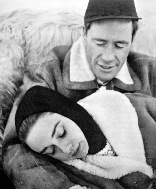 Audrey Hepburn and Mel Ferrer vacationing in St. Moritz, Switzerland, 1958.