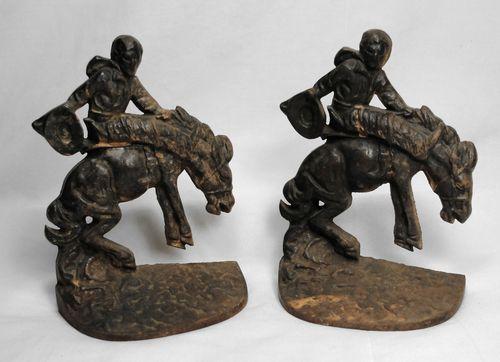 1927 Cowboy Bucking Bronco Horse Cast Iron Book Ends