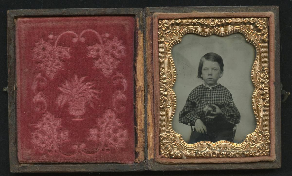 1860 Cased 9th Plate Ambrotype Young Long Haired Boy Eating An Apple | eBay