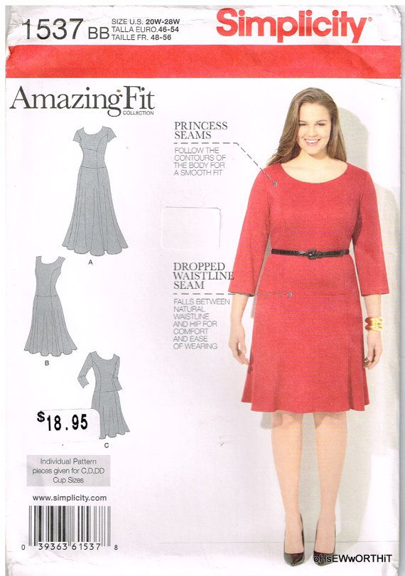 Simplicity 1537, Sewing Pattern, Women\'s Dress, Amazing Fit, Size ...