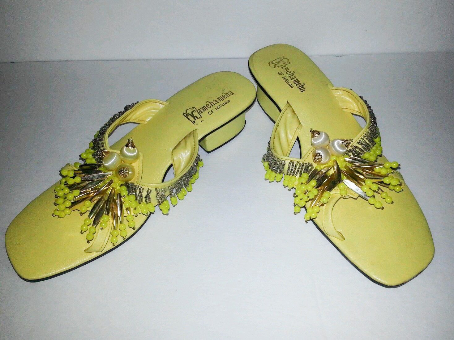 Vintage Hawaiian Kamehameha Yellow Beaded Slides Sandals Shoes 7 | eBay