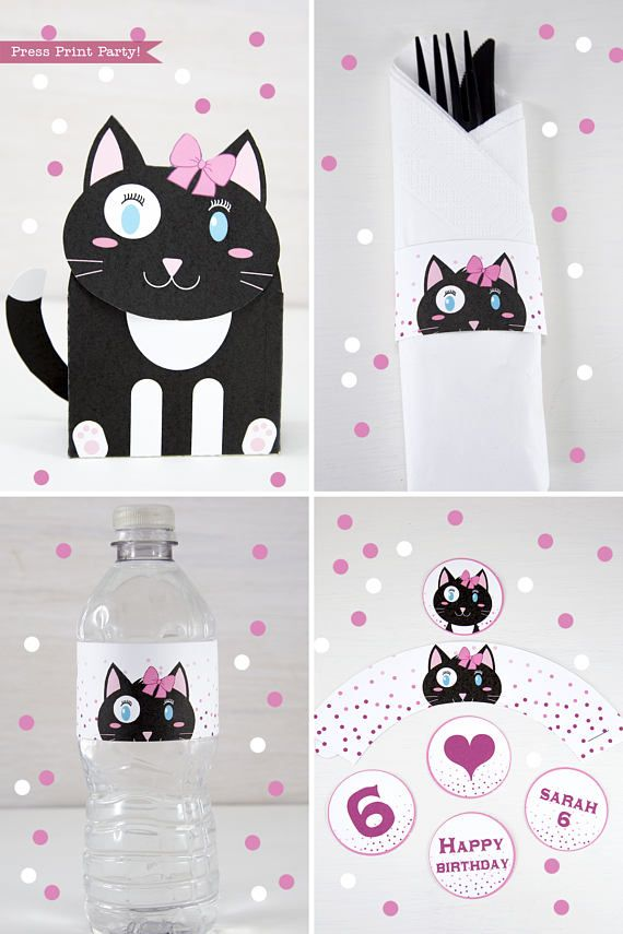 CUTE Kitten Party Printables Delight Cat Lovers By Throwing A Kitty This Adorable Black And White Makes For Cheery Fun Theme