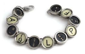 Vintage Typewriter Key Bracelet Made from authentic typewriter keys with original lettering from a pre-1950's typewriter.