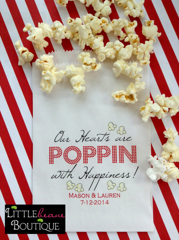 Popcorn Bags Wedding Favor Birthday Party Bridal Shower Custom Color Set Of 24