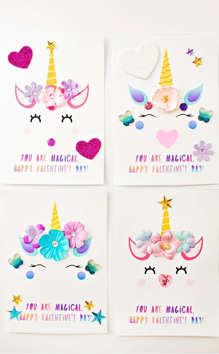 Diy Unicorn Valentine Cards Unicorn Valentine Cards Valentine S Cards For Kids Unicorn Valentine