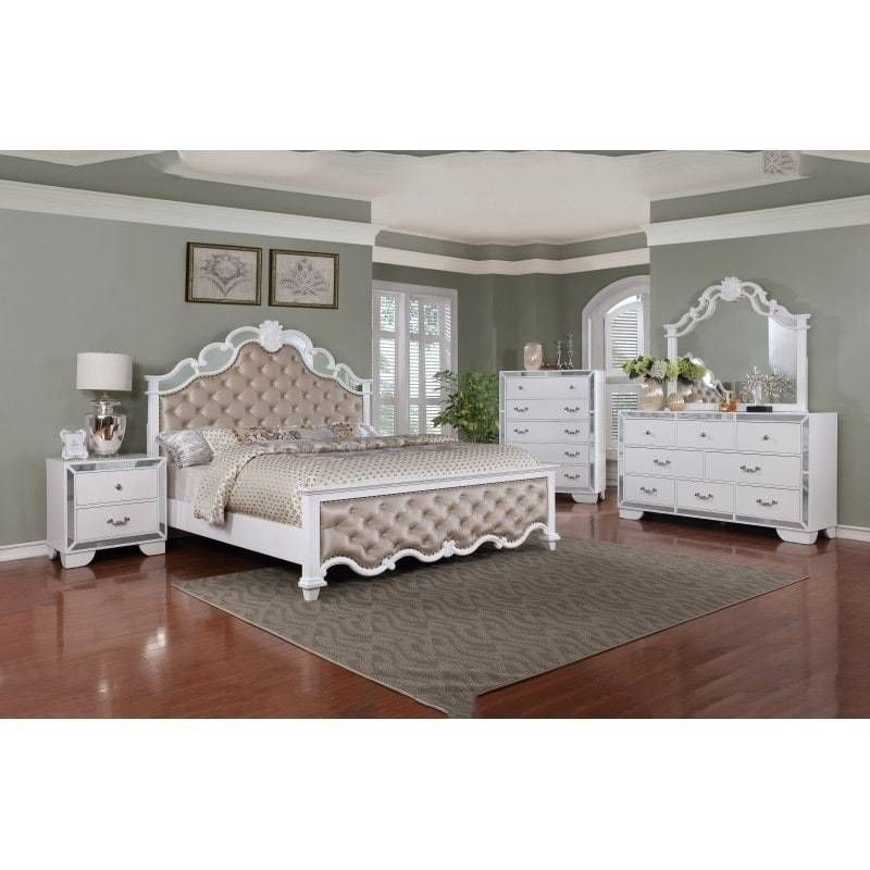 Best Quality Furniture Glam White 4 Piece Bedroom Set