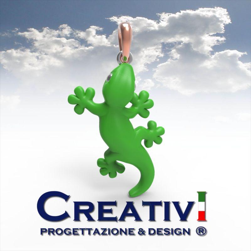 Creativi Design | Pendant Gecko Geco 3D Jewel Model Rhinoceros