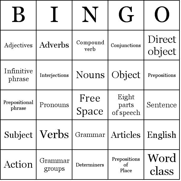 Part of Speech bingo card sample | English for Fun (ESL) | Pinterest