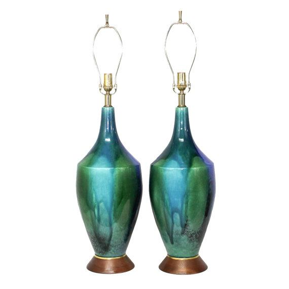 XL PAIR Mid-Century Modern Pottery Lamps . Blue Turquoise Green Drip Glaze