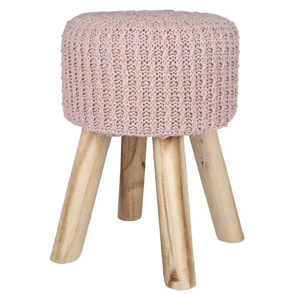 Tabouret Crochete Rose Pieds Bois Bois Meuble Gifi
