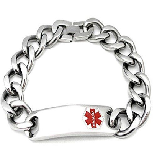Max Petals Diabetes Medical Alert ID Bracelet Stainless Steel with 9 Inch Chain