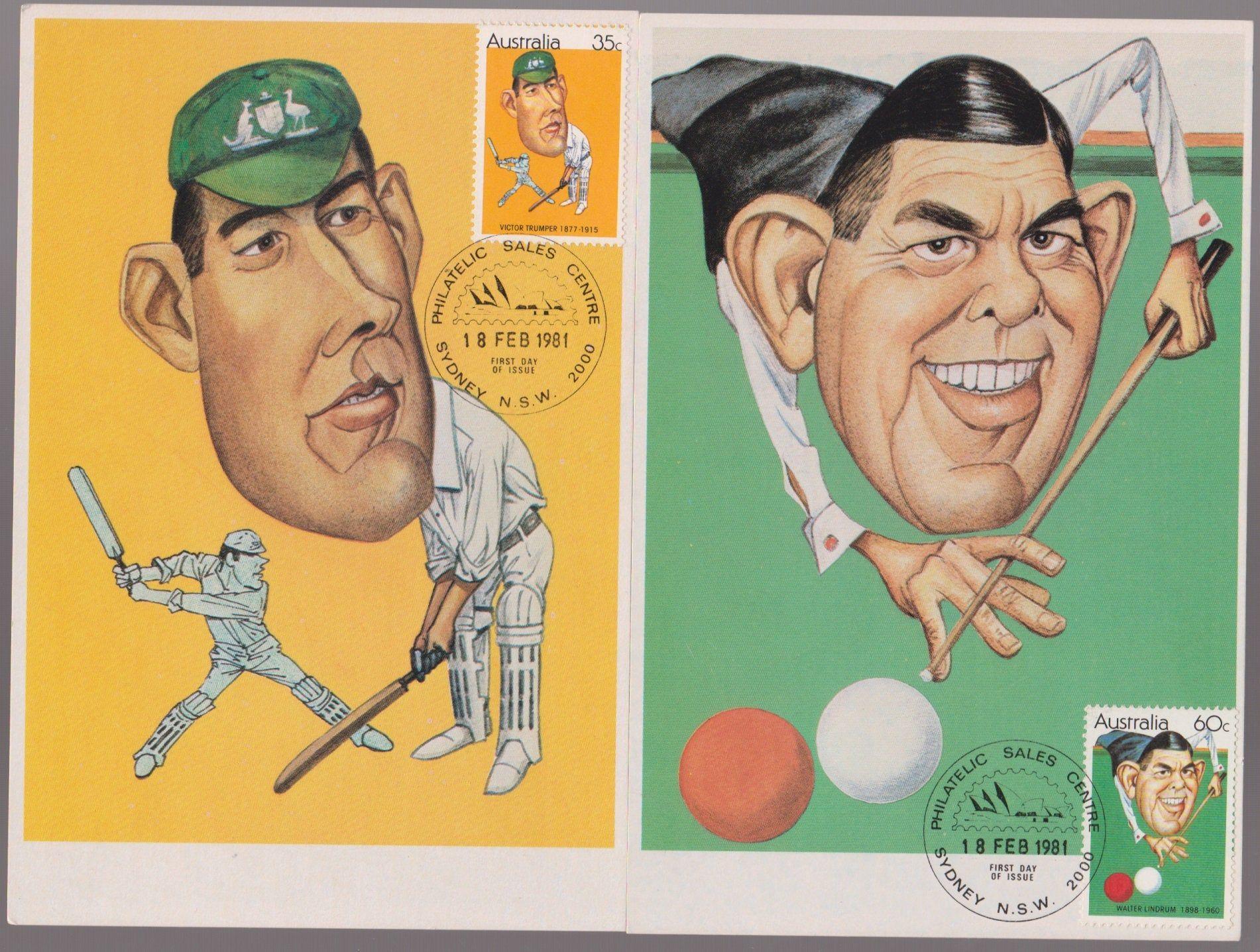 Australian Cartoon Sporting Personalities Set of 4