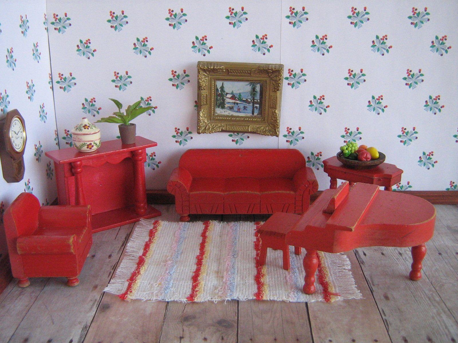 Vintage 40s Strombecker Wooden Dollhouse Furniture - Red Living Room