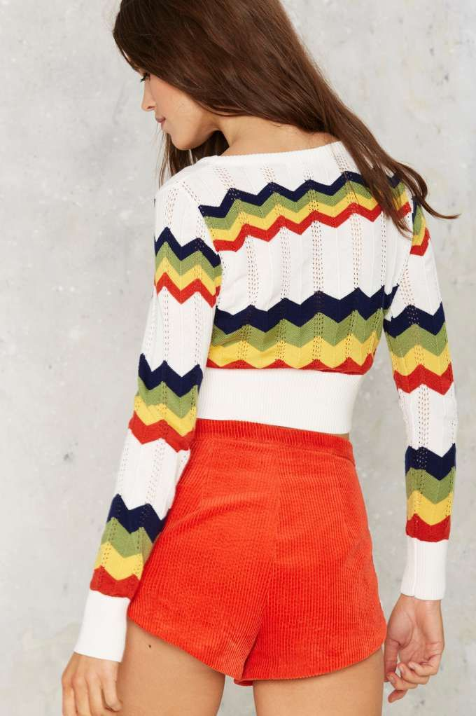 Chevron Chase Cropped Sweater - Pullover
