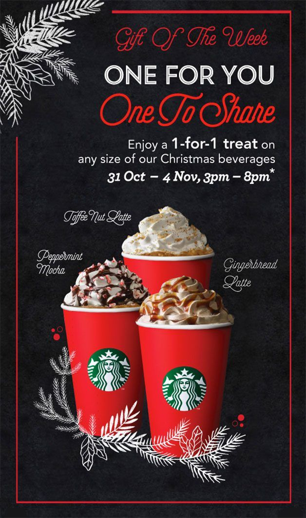 Starbucks Christmas Menu.Starbucks 1 For 1 Christmas Drinks October November 2016