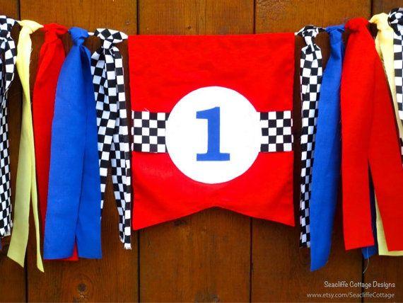 Race Car Birthday Banner Highchair High Chair Racecar Garland – Disney Cars High Chair